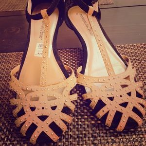 Studed tan and black sandals